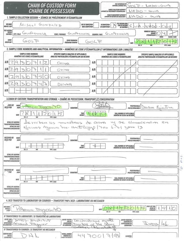 Formulario de Cadena de Custodia